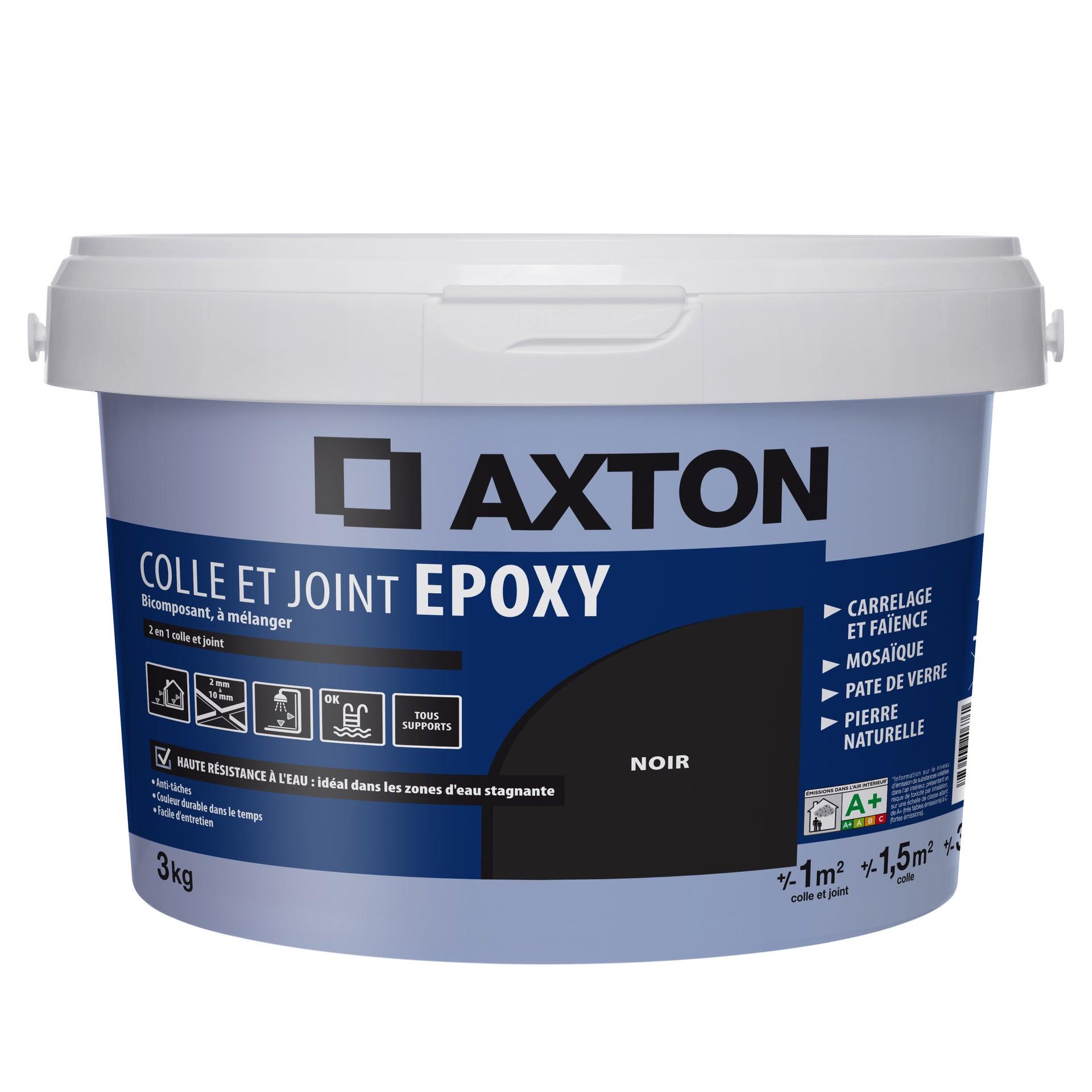 Colle et joint époxy AXTON, mur et sol,noir, 1m², 3KG | Leroy Merlin