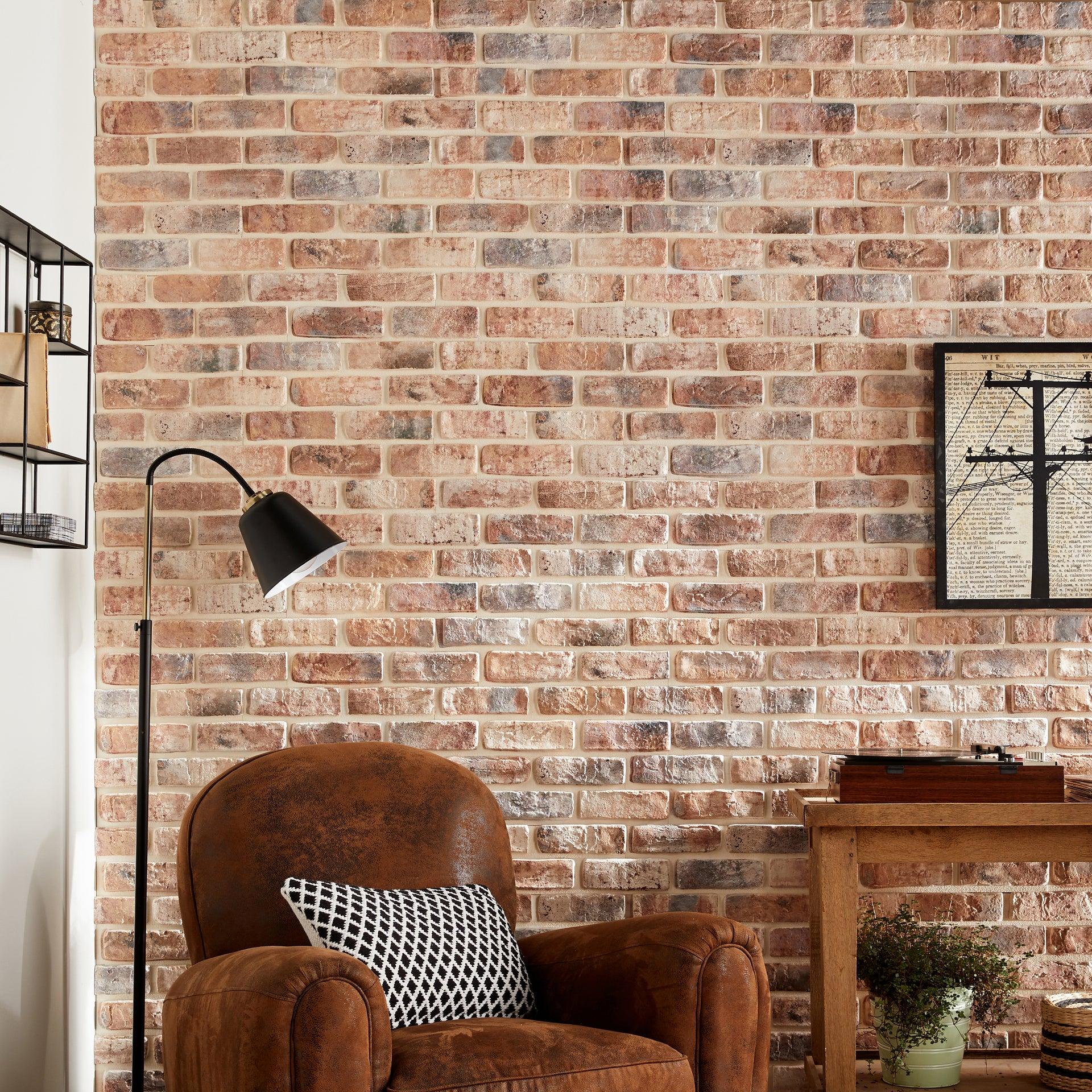 Plaquette de parement plâtre effet brique rouge Loft intérieur