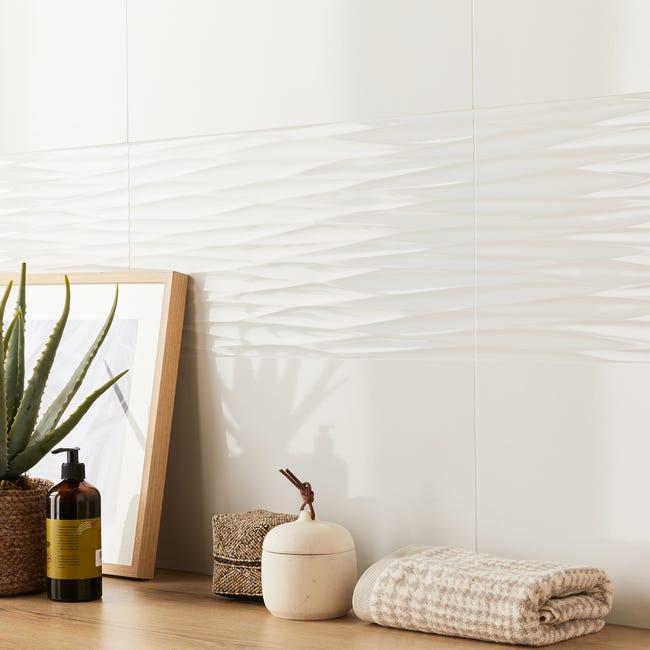 Carrelage Mur Intenso Relief Blanc Brillante L 30 X L 60 Cm Arctic Artens Leroy Merlin