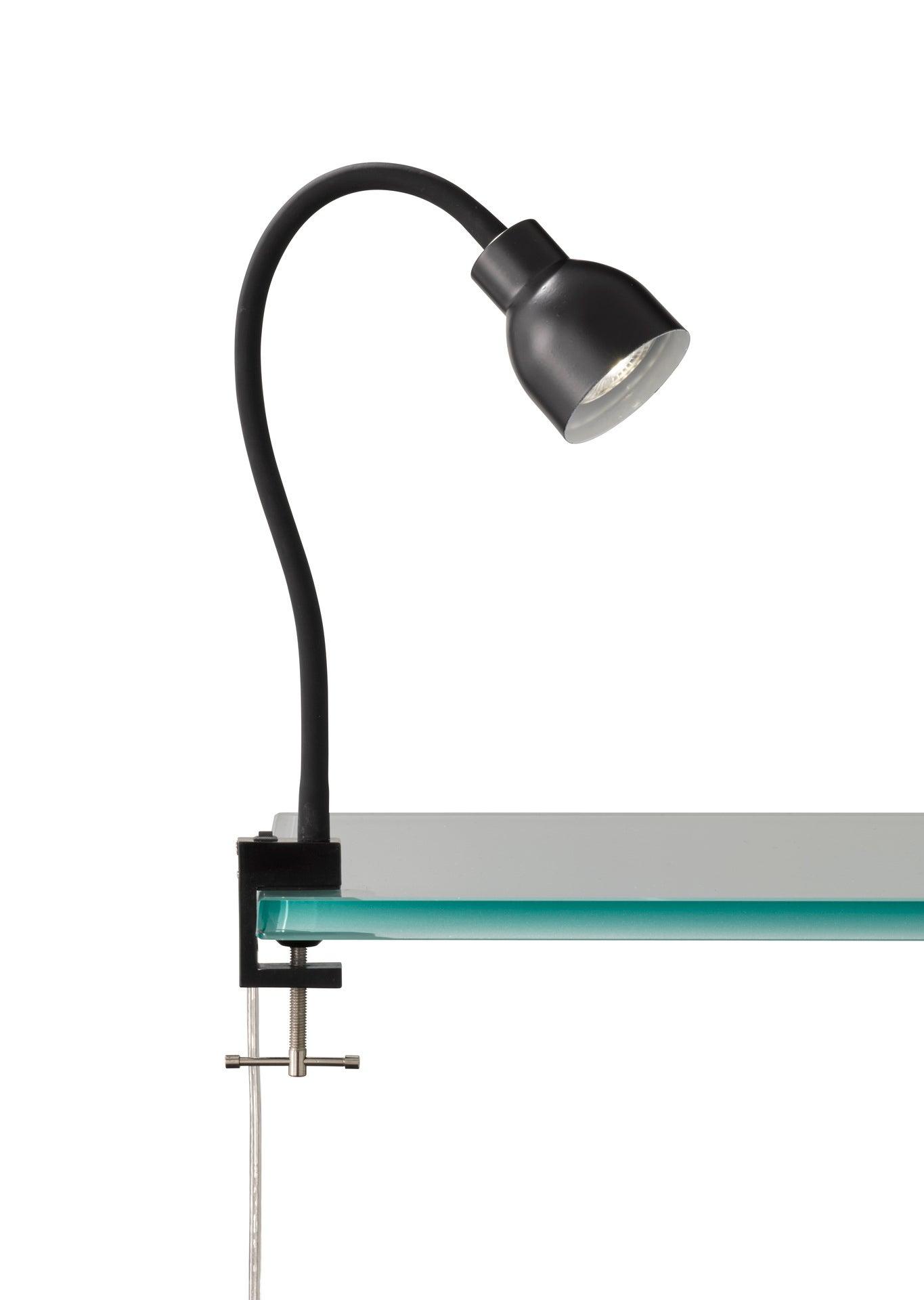 Lampe de bureau à pince, moderne, plastique noir commande, INSPIRE Salta