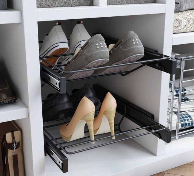 Range-chaussures coulissant noir Spaceo, 4 paires maximum H.10.8 x l.56.8 cm | Leroy Merlin