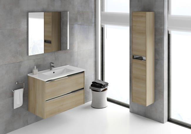 Meuble De Salle De Bains Simple Vasque L 79 5 X H 57 X P 45 Cm Effet Chene Natu Leroy Merlin
