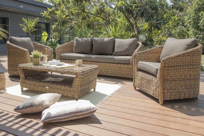 Salon Bas De Jardin Havana Resine Tressee Naturel 5 Personnes