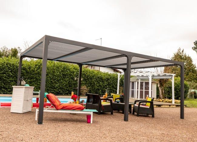 Pergola Pour Terrasse Ou Balcon Per 3660 Bi Aluminium Gris Anthracite 21 52 M Leroy Merlin