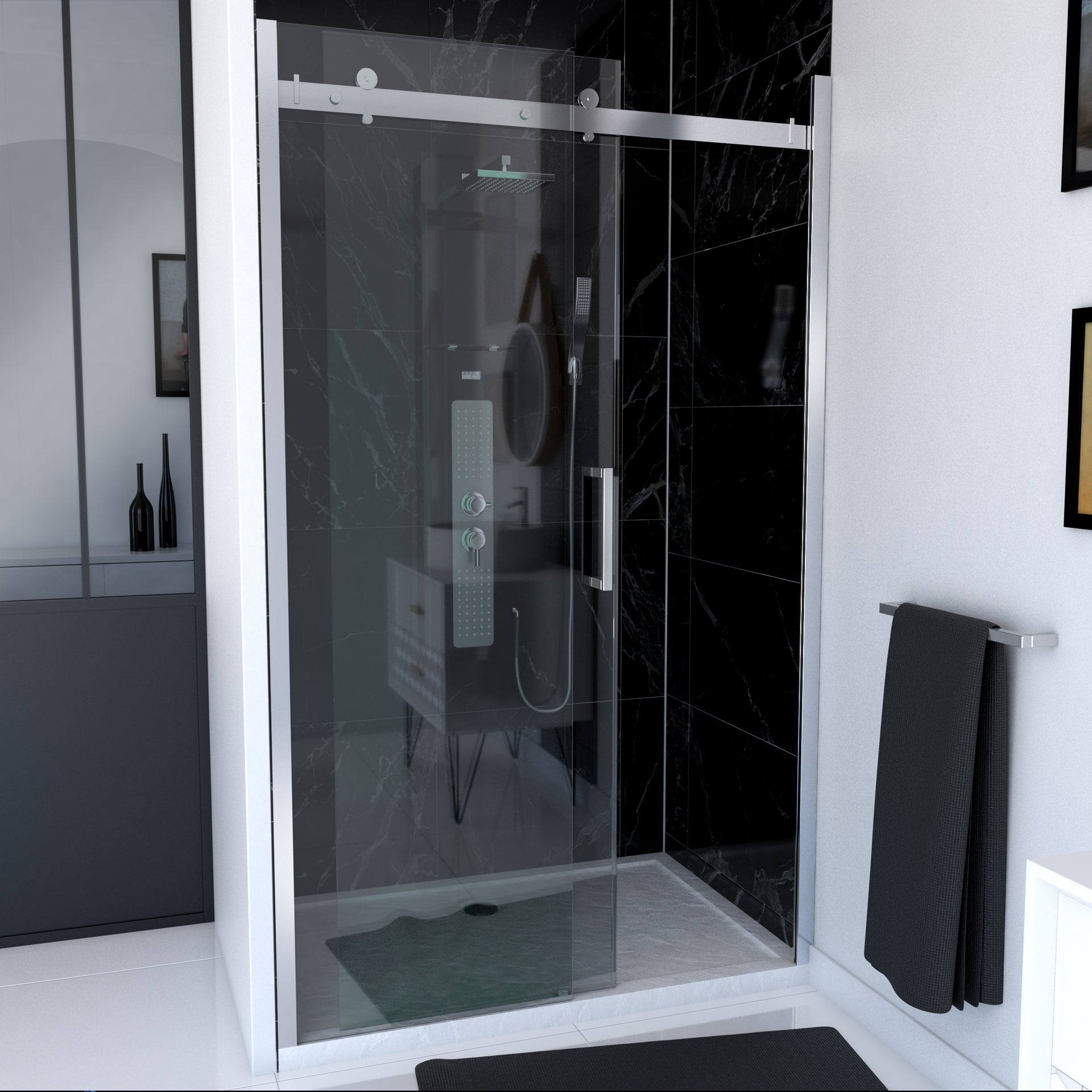 porte de douche coulissante transparent chromé 120 cm