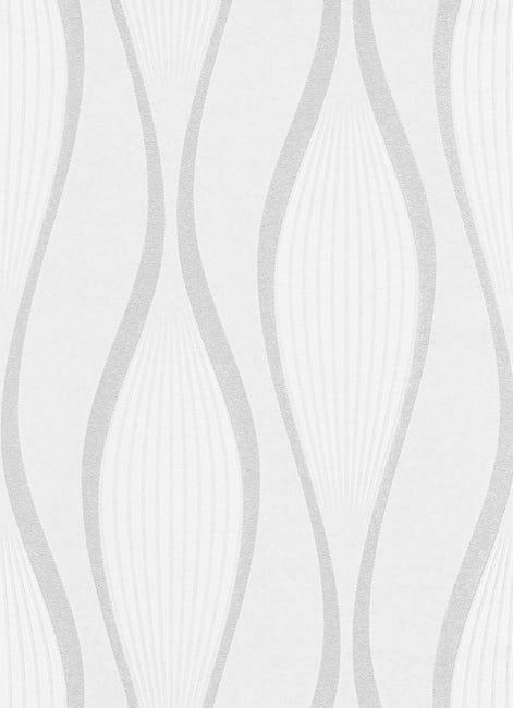 Papier peint intissé 250g/m² ondulation blanc à peindre   Leroy Merlin