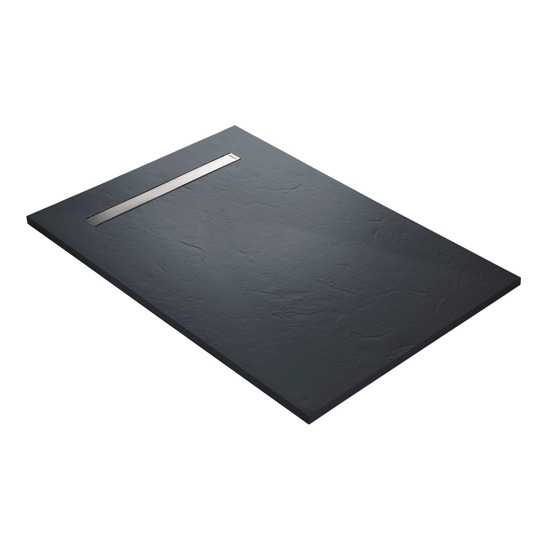 receveur douche extra plat caniveau inox resine gris 140 x 90