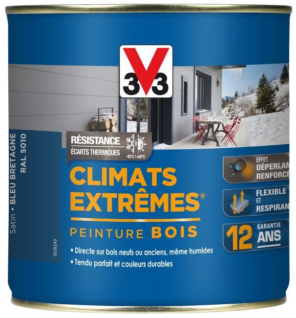 Peinture Bois Exterieur Climats Extremes V33 Bleu Bretagne Satine 0 5 L Leroy Merlin