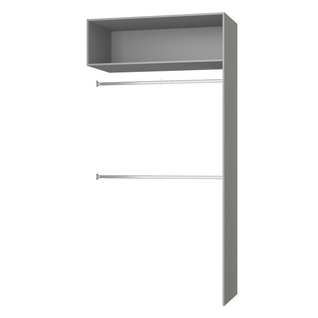 Penderie Extensible Armoire Spaceo Home Anthracite H 240 X L 120 X P 60 Cm Leroy Merlin